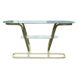 Two Tier Brass and Glass Console Sofa Table For Sale