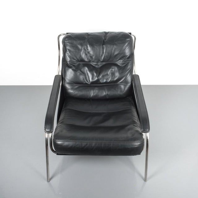 Marco Zanuso Maggiolina Sling Black Leather Chair by Zanotta, 1947 For Sale - Image 6 of 11