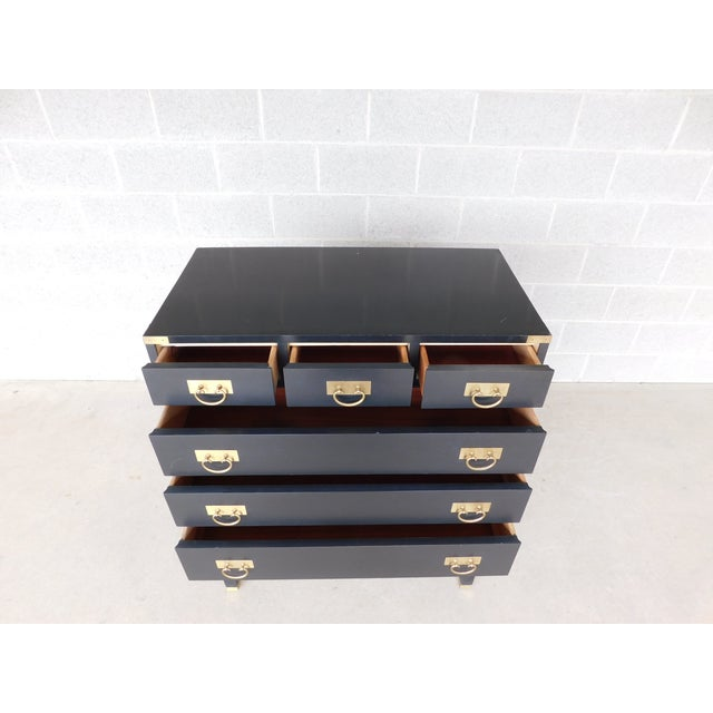"""Asian Permacraft by Sanford Furniture Black Lacquer Asian Style Chest 35""""w X 43""""h For Sale - Image 3 of 12"""