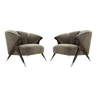 Modernist Karpen Lounge Chairs in Charcoal Mohair, 1950s For Sale
