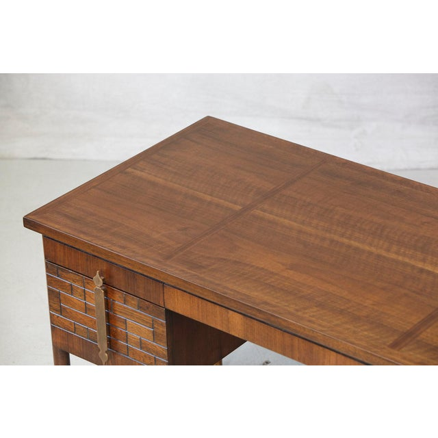Gold Walnut Desk With Graphic Wood Work and Brass Hardware, 1970s For Sale - Image 8 of 12