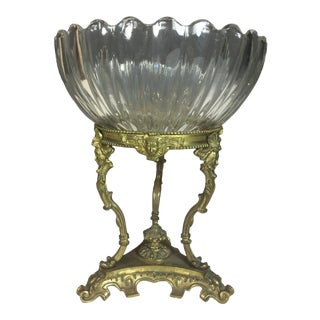Antique Glass Top Brass Base Centerpiece Bowl For Sale