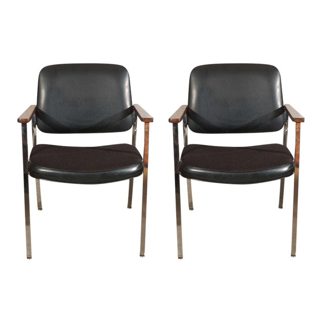 Pair of Bauhaus Chrome and Wood Black Armchairs For Sale - Image 10 of 10