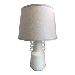 White Crackled Ceramic Circus Table Lamp With Beige Linen Lamp Shade For Sale