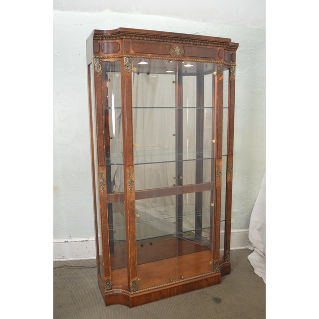 Henredon Grand Provenance French Louis XV Style Burl Wood Curio Display Cabinet For Sale - Image 10 of 12