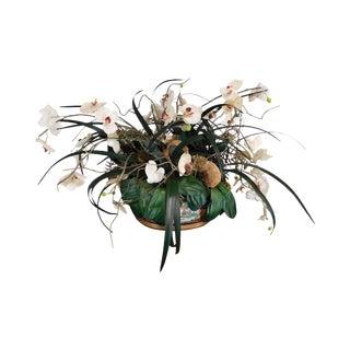 Asian Porcelain Flower Pot With Artificial Flowers For Sale
