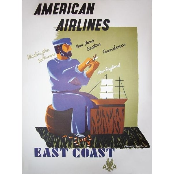 Art Deco 1940s Original American Art Deco Poster, American Airlines East Coast For Sale - Image 3 of 3