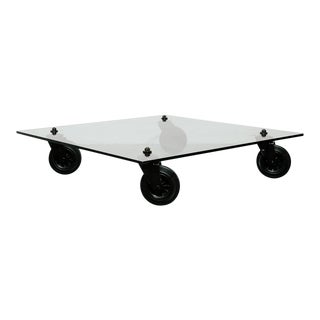 Coffee Table With Wheels by Gae Aulenti for Fontana Arte For Sale