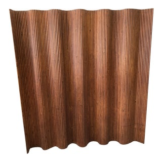 Alvar Aalto Style Wooden Slat + Canvas Adjustable Room Divider/Screen For Sale