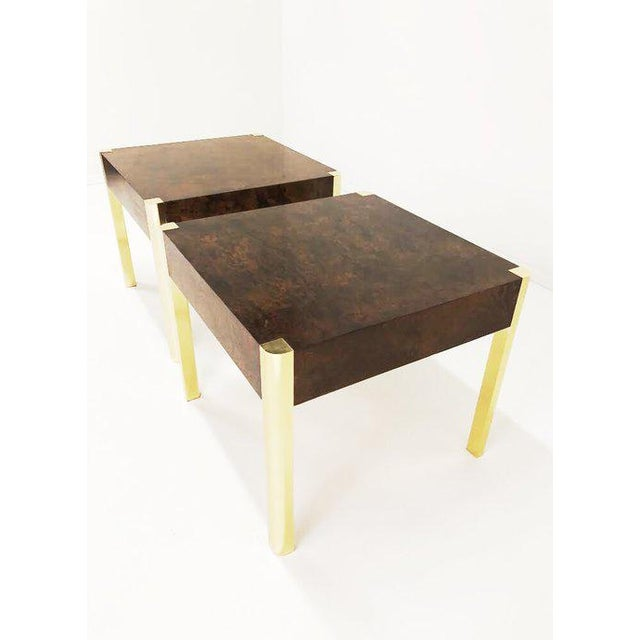 Hollywood Regency 1970's Burl Wood and Brass Tables - a Pair For Sale - Image 3 of 10