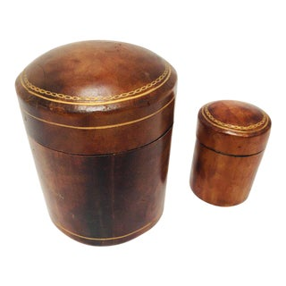 20th Century Florentine Leather Snuff Boxes - Set of 2 For Sale