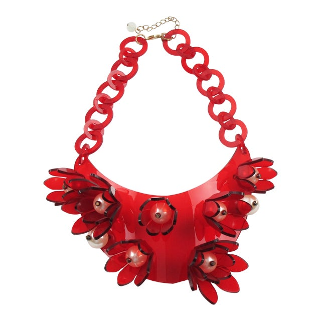 Italian Designer Transparent Red Lucite Flowers and Pearl Bib Necklace For Sale