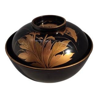 1920s Antique Japanese Maki-E Lacquer Lidded Bowl - a Pair For Sale