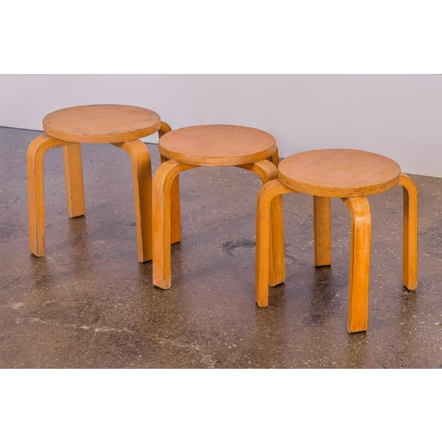 1960s Alvar Aalto Style Small Stacking Stools - Set of 3 For Sale - Image 9 of 9