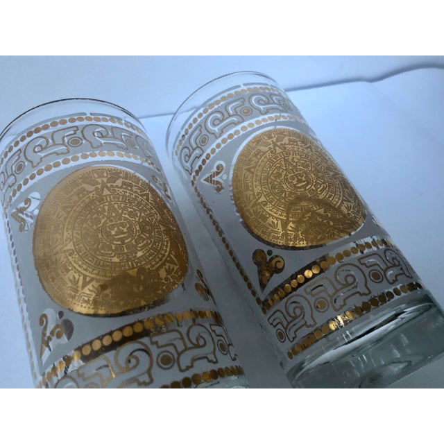 Gold Mid 20th Century Hazel Atlas Frosted and Gilt Aztec Highball Cocktail Glasses - a Pair For Sale - Image 8 of 12