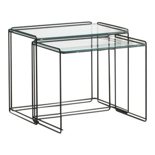 Pair of Rectangular Max Sauze Nesting Side Tables For Sale