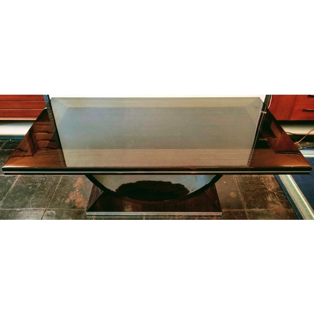 Brown 20th Century Italian High Gloss Walnut and Chrome Extendable Dining Table For Sale - Image 8 of 9