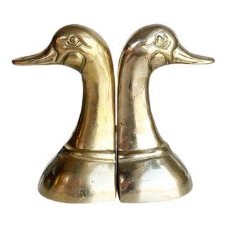 Cast Brass Duck or Mallard Head Bookends, a Pair For Sale