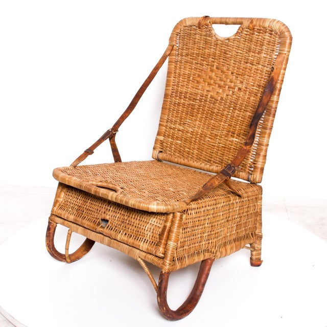 Mid Century Modern Rattan Leather Sculptural Portable Traveling Chair For Sale - Image 11 of 11