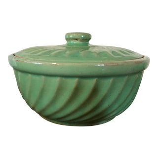 1950s Vintage Green Swirl Pottery Tureen For Sale
