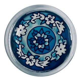 Vintage Blue Floral Design Glass Paperweight For Sale