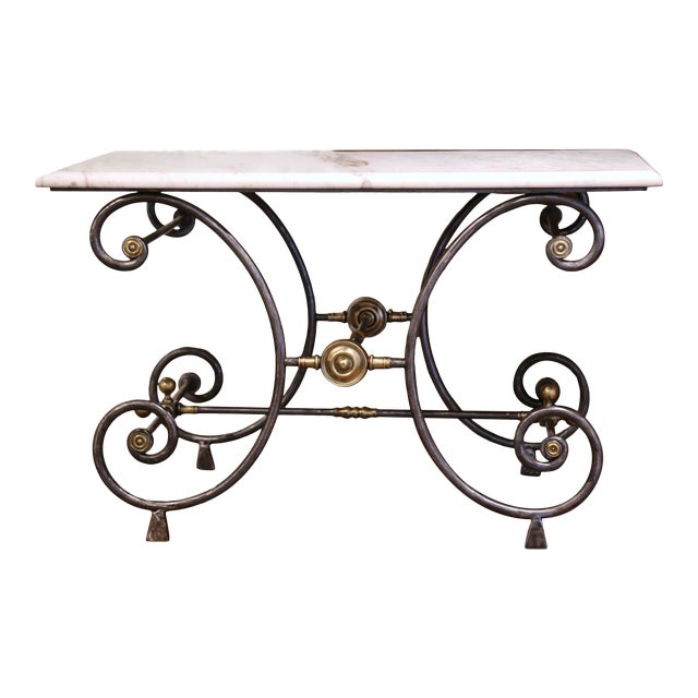 19th Century French Polished Iron and Bronze Pastry Table With Marble Top For Sale