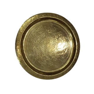 Vintage Engraved Moroccan Brass Tray-Ref903 For Sale