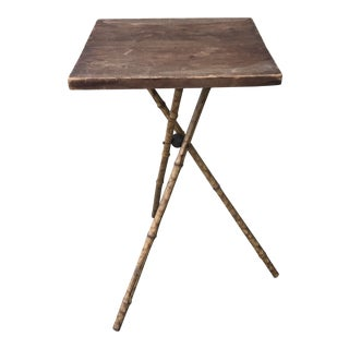 Antique Bamboo Three Legged Side Table For Sale