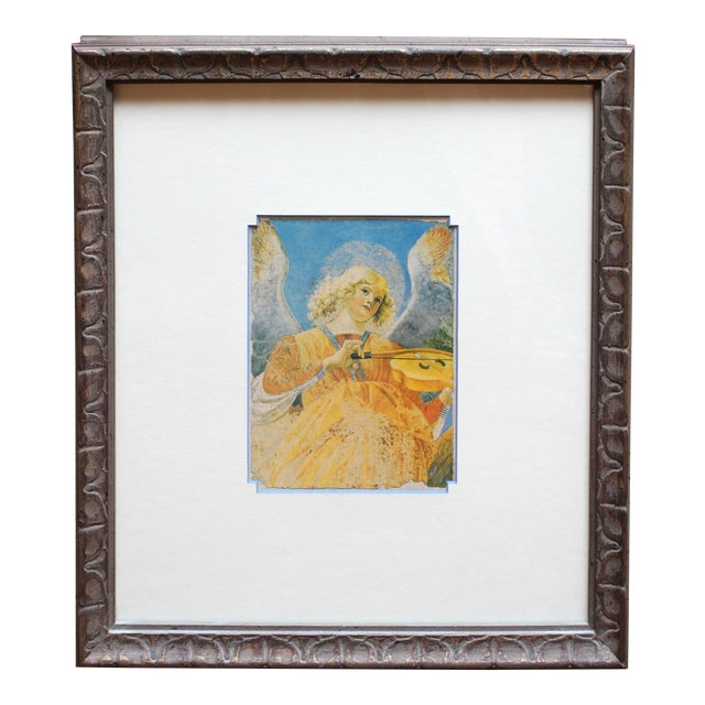 Late 20th Century Print of Angel With Violin, Fresco Fragment For Sale