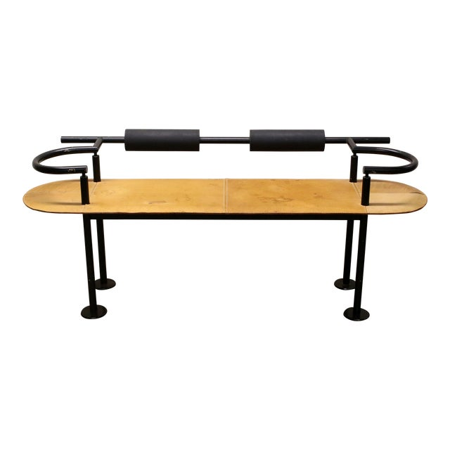Vintage Ettore Sottsass Postmodern Memphis Group Style Steel and Leather Bench For Sale