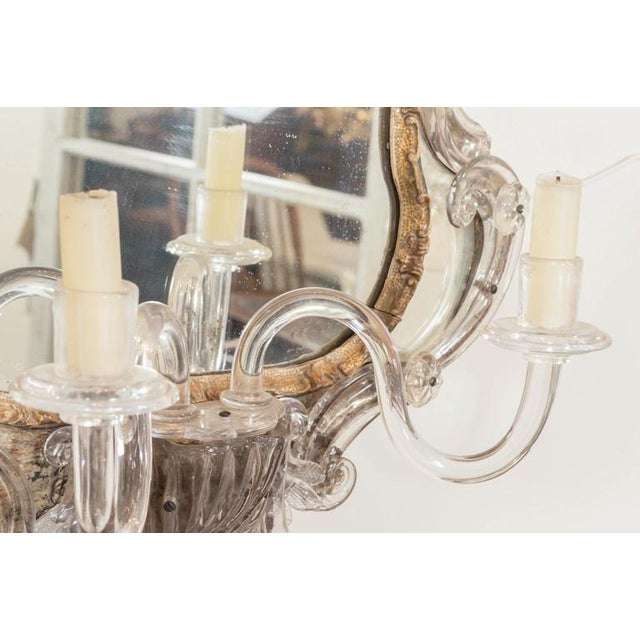 18th Century Venetian Glass Mirror With Blown Glass Sconce For Sale - Image 4 of 7