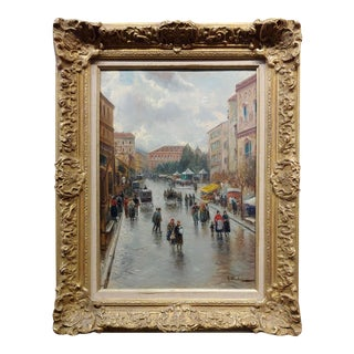 """Gustav Prucha """"Busy Parisian Street Scene After the Rain"""" Oil Painting, 19th C. For Sale"""