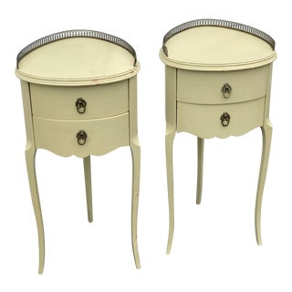Circa 1910 Smaller French End Tables Tri Legged Nightstands a Pair For Sale