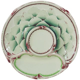 Antique Majolica Artichoke Plate Sarreguemines, Circa 1900 For Sale
