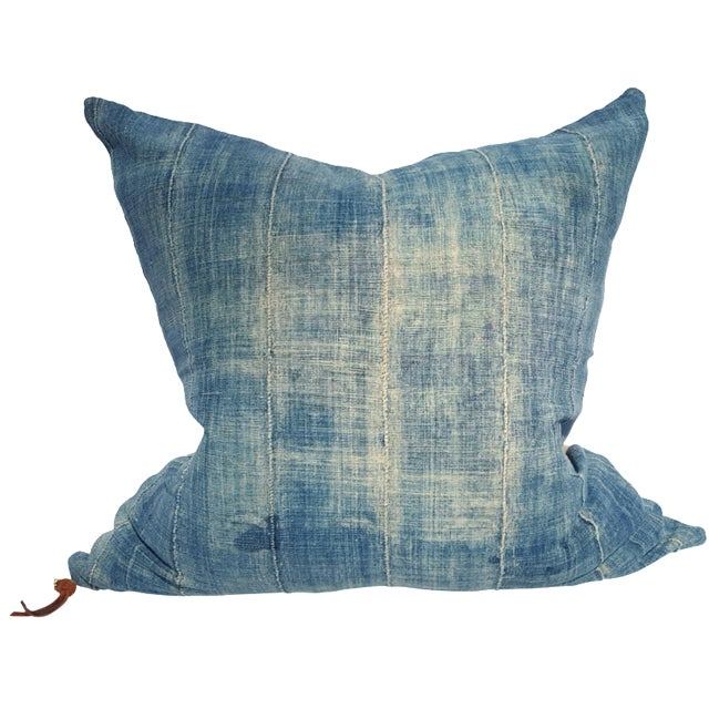 Faded Denim African Mud Cloth Pillow Cover - Image 1 of 6