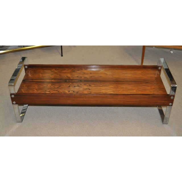 Vintage 1970's Rosewood & Chrome Coffee Table - Image 2 of 4