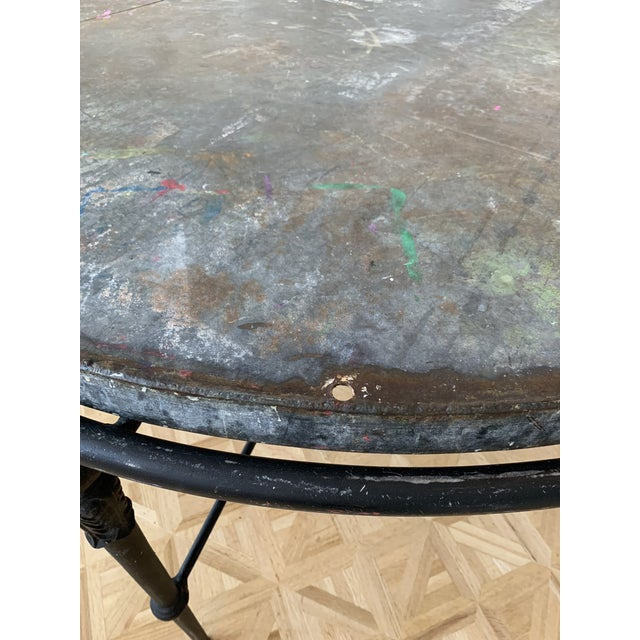 """1990s Zinc & Wrought Iron Dining Table 60"""" For Sale - Image 5 of 6"""