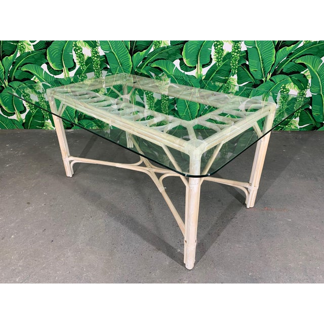 Rattan Glass Top Dining Table For Sale - Image 6 of 6