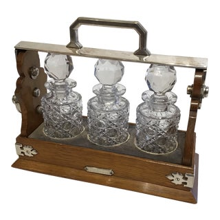Late 19th Century Tantalus (3) Decanter Set in Caddy - 4 Pieces For Sale