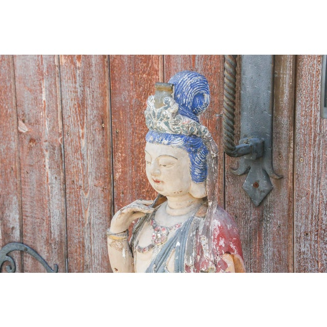 Wood Antique Polychrome Quand-Yin Statue For Sale - Image 7 of 11