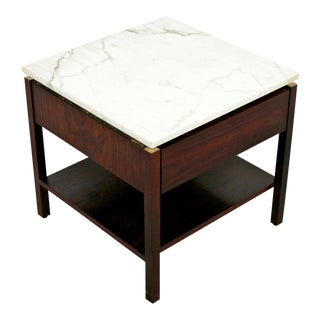 Mid Century Modern Florence Knoll Nightstand Side Table Rosewood & Marble 60s For Sale