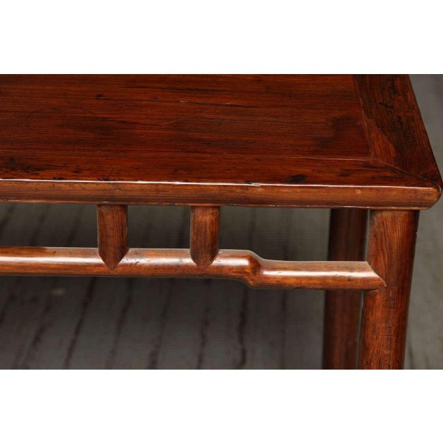 Mid 19th Century Qing Dynasty Elmwood Small Console Wine Table from China, 19th Century For Sale - Image 5 of 10