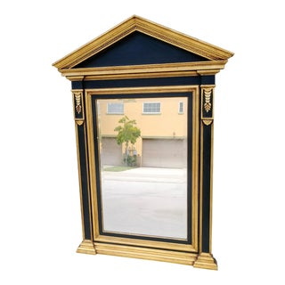 Large Regal Black Gold Italian Federal Piedmont Wall Mirror For Sale