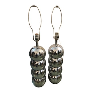 George Kovacs Chrome Ball Lamps - a Pair For Sale