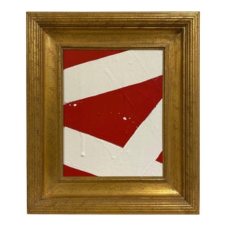 Ron Giusti Mini Abstract Red Cream Painting, Framed For Sale