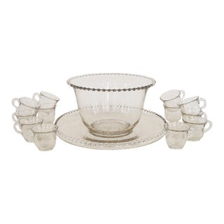 Vintage Imperial Candlewick Punch Bowl Set With Cups - Set of 14 For Sale