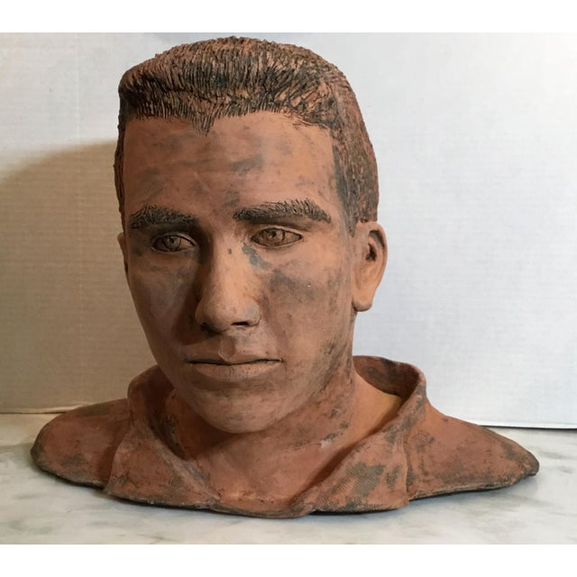 Young Man Terra Cotta Bust Signed MD For Sale - Image 12 of 13