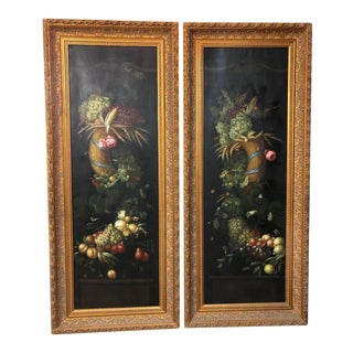 Framed Floral Paintings - a Pair For Sale