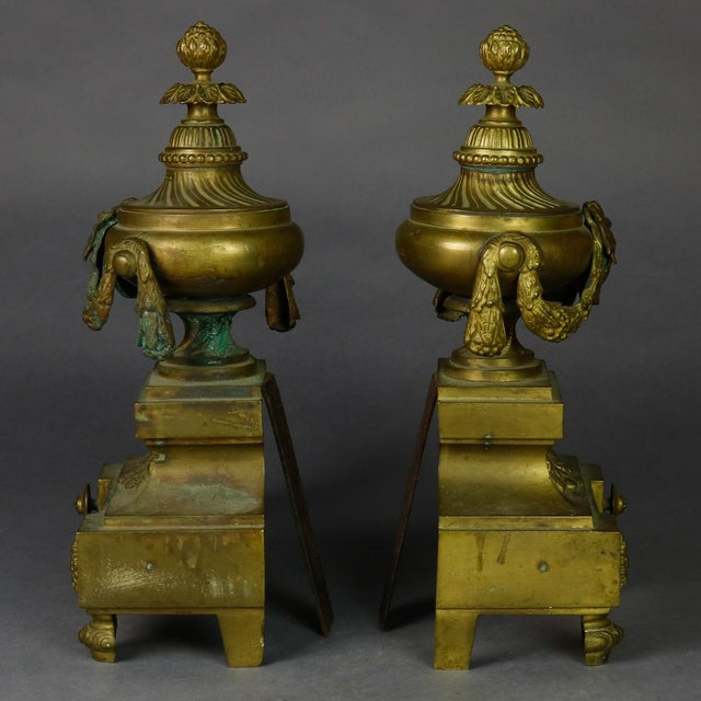 French Antique French Empire Figural Bronze Urn and Flame Form Fireplace Andirons- A Pair For Sale - Image 3 of 8