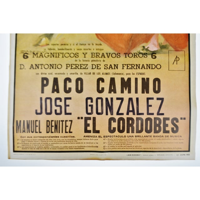 1970s Vintage Framed 1971 Spanish Bullfight Running of the Bulls Lithograph For Sale - Image 5 of 13